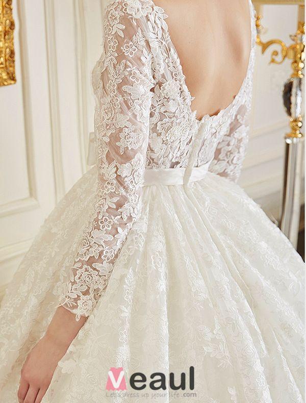 2016 Luxus Ballkleid Rückenfrei Lösliche Spitze Brautkleid Mit Schärpe