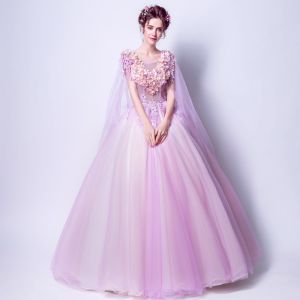 Schöne 2017 Violett Abendkleider V-Ausschnitt Spitze Applikationen Rückenfreies Handgefertigt Ballkleid Ballkleider