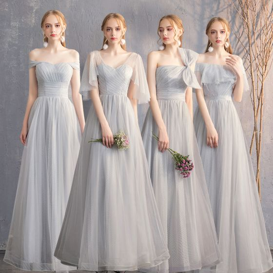 18e154536c Piękne Szary Sukienki Dla Druhen 2019 Princessa Spleciona Kokarda 1 2  Rękawy Bez Pleców Długie Sukienki ...