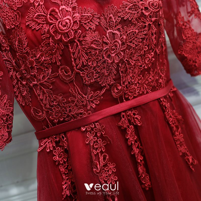 Chic / Beautiful Red Formal Dresses Evening Dresses  2017 Lace Flower Strappy Scoop Neck 1/2 Sleeves Short A-Line / Princess
