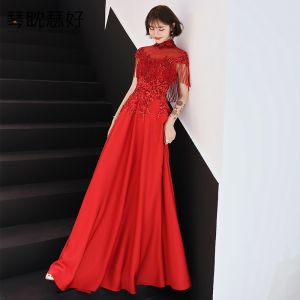 Chinese style Red See-through Evening Dresses  2019 A-Line / Princess High Neck Cap Sleeves Appliques Lace Beading Tassel Floor-Length / Long Ruffle Backless Formal Dresses