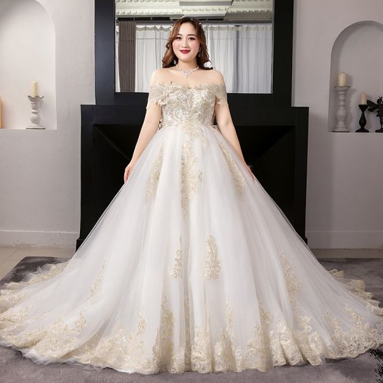 Luxury / Gorgeous White Plus Size Ball Gown Wedding Dresses 2019 Lace Tulle Appliques Backless Embroidered Strapless Cathedral Train Wedding