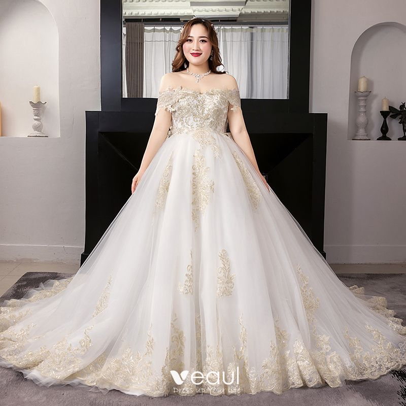 Luxury Gorgeous White Plus Size Ball Gown Wedding Dresses 2019 Lace Tulle Liques Backless Embroidered Strapless Cathedral Train
