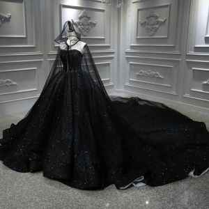 Único Negro Boda Vestidos De Novia Con Capa 2020 Ball Gown Sweetheart Sin Mangas Sin Espalda Rebordear Glitter Tul Royal Train Ruffle