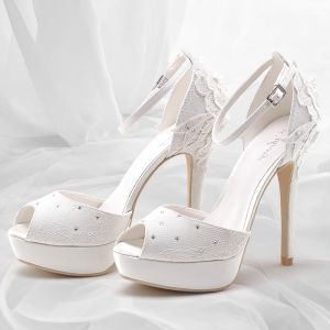 Chic / Beautiful White Summer Womens Shoes 2018 Leather Flower Buckle Rhinestone 12 cm Stiletto Heels Platform Open / Peep Toe Wedding High Heels