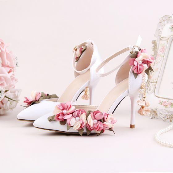 Fine Hvit Blomst Hage / utendørs Sandaler Dame 2020 Ankelstropp 9 cm Stiletthæler Spisse Sandaler