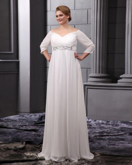 Chiffon Perlen Mit V-ausschnitt Bodenlange Große Größen Brautkleider Hochzeitskleid