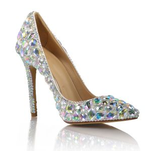 Charming Multi-Colors Crystal Wedding Shoes 2020 Leather Rhinestone 10 cm Stiletto Heels Pointed Toe Pumps
