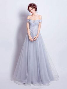 Szary Backless Suknia Wieczorowa 2017 Przy Ramieniu Długim Sukienki Wizytowe