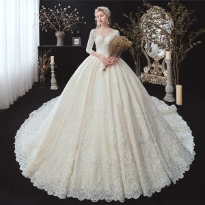 Classic Champagne Winter Wedding Dresses 2020 Ball Gown See-through Scoop Neck 3/4 Sleeve Backless Appliques Lace Beading Cathedral Train Ruffle