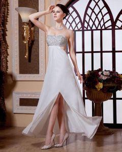 Junoesque Empire Strapless Floor Length Chiffon Rufffles Beading Women's Evening Dress