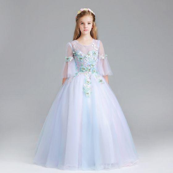 Hermoso Azul Cielo Vestidos para niñas 2017 Ball Gown Scoop Escote 3/4 Ærmer Apliques mariposa Largos Ruffle Traspasado Vestidos para bodas
