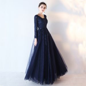Chic / Beautiful Navy Blue Prom Dresses 2017 A-Line / Princess Long Sleeve V-Neck Appliques Lace Sequins Beading Sash Floor-Length / Long Backless Formal Dresses