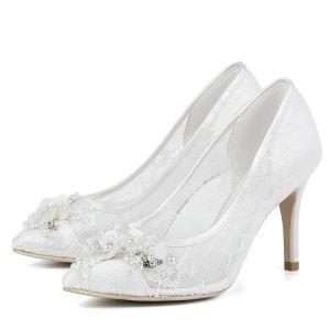 Luxe Witte Kanten Bruidsschoenen 2018 Kralen Rhinestone Parel 10 cm Naaldhakken / Stiletto Leer Doorzichtige Kant Spitse Neus Huwelijk Pumps