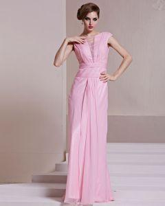 Mode Tencel Charmeuse Gaze Perlen-boot-ausschnitt Ärmellose Bodenlangen Abendkleid