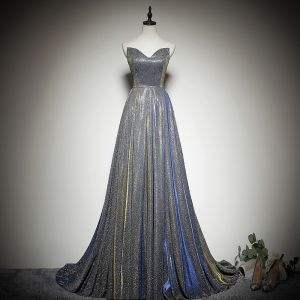 Bling Bling Silver Evening Dresses  2019 A-Line / Princess Sweetheart Sleeveless Glitter Polyester Sweep Train Ruffle Backless Formal Dresses