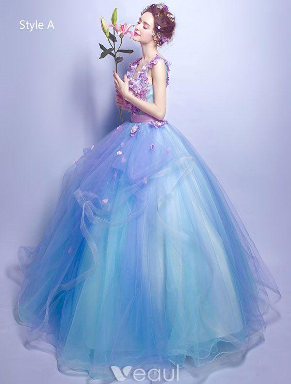 Flower Fairy Prom Dresses 2017 V-neck Applique Petals Ruffle Blue Tulle Occasion Dress