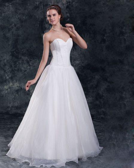 Organza Floor Length Sweetheart Ball Gown Women A Line Wedding Dress
