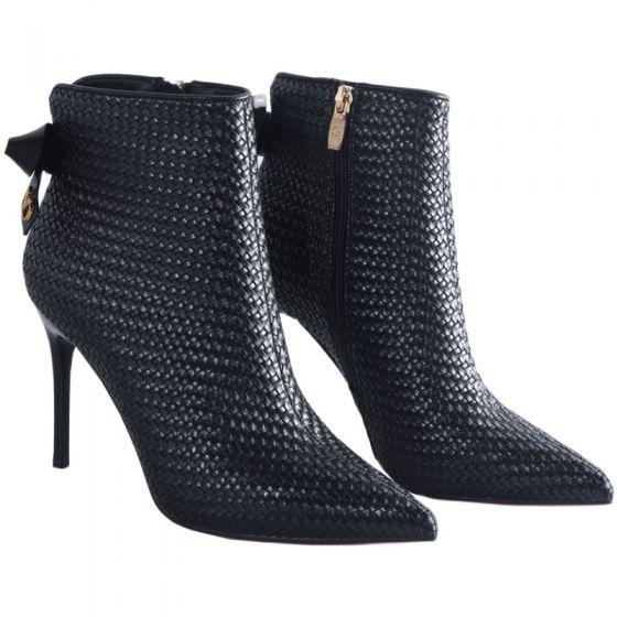 Mote Svart Gateklær Flette Kvinners støvler 2021 Ankel Sløyfe 9 cm Stiletthæler Spisse Boots