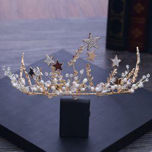 Mooie / Prachtige Goud Tiara 2018 Metaal Kristal Parel Ster Rhinestone Accessoires