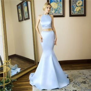 2 Piece Sky Blue Satin Evening Dresses  2019 Trumpet / Mermaid Halter Sleeveless Beading Sweep Train Backless Formal Dresses