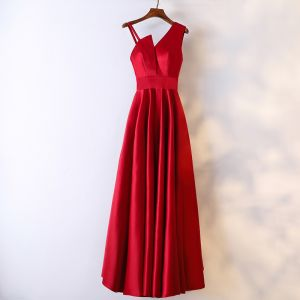Chic / Beautiful Red Formal Dresses Evening Dresses  2017 V-Neck Zipper Up Sleeveless Ankle Length Empire
