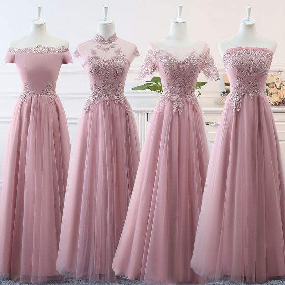 Affordable Blushing Pink Bridesmaid Dresses 2019 A-Line / Princess Appliques Lace Floor-Length / Long Ruffle Backless Wedding Party Dresses