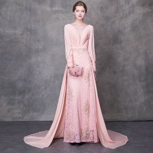 Stunning Pearl Pink Pierced Evening Dresses  2018 A-Line / Princess Scoop Neck Long Sleeve Beading Sash Court Train Ruffle Backless Formal Dresses