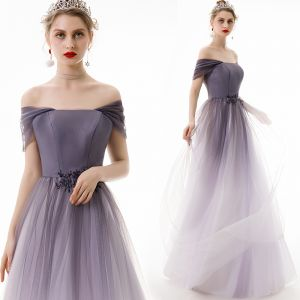 Modest / Simple Lavender Gradient-Color Evening Dresses  2019 A-Line / Princess Off-The-Shoulder Sleeveless Backless Floor-Length / Long Formal Dresses