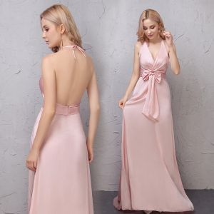 Affordable Blushing Pink Evening Dresses  2019 A-Line / Princess Bow Halter Sleeveless Backless Court Train Formal Dresses