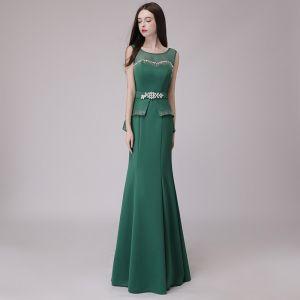 Discount Dark Green See-through Evening Dresses  2018 Trumpet / Mermaid Scoop Neck Sleeveless Rhinestone Sash Floor-Length / Long Ruffle Backless Formal Dresses