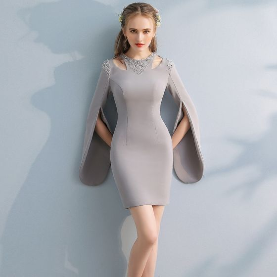 Amazing / Unique Party Dresses 2017 Sheath / Fit Beading Rhinestone Scoop Neck Long Sleeve Short Formal Dresses