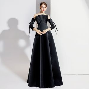 Elegant Black Evening Dresses  2020 A-Line / Princess Off-The-Shoulder Bow 3/4 Sleeve Backless Floor-Length / Long Formal Dresses