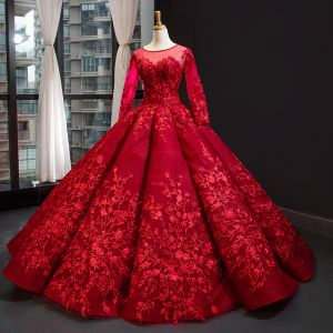 Luxury / Gorgeous Red Bridal Wedding Dresses 2020 Ball Gown See-through Scoop Neck Long Sleeve Backless Heart-shaped Flower Appliques Lace Chapel Train Ruffle