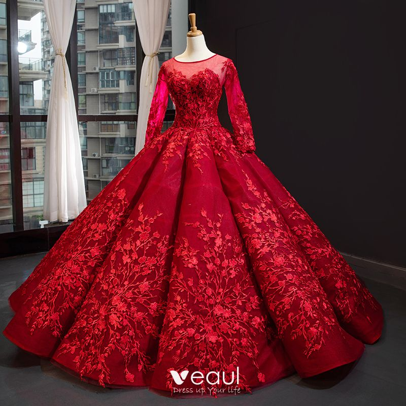 Red And White Ball Gown Wedding Dress: Luxury / Gorgeous Red Bridal Wedding Dresses 2020 Ball