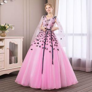 Abordable Rose Bonbon Robe De Bal 2018 Robe Boule En Dentelle Fleur Appliques Noeud V-Cou Dos Nu Manches Longues Longue Robe De Ceremonie