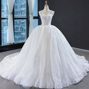 Best Ivory Wedding Dresses 2020 Ball Gown Shoulders Sleeveless Backless Appliques Lace Beading Cathedral Train Ruffle