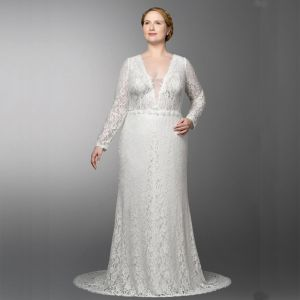 Chic / Beautiful White Plus Size Wedding Dresses 2020 A-Line / Princess V-Neck Long Sleeve Lace Handmade  Embroidered Sweep Train Wedding