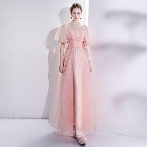 Moderne / Mode Perle Rose Robe De Soirée 2017 Trompette / Sirène U-Cou Tulle Appliques Dos Nu Perlage Soirée Robe De Ceremonie