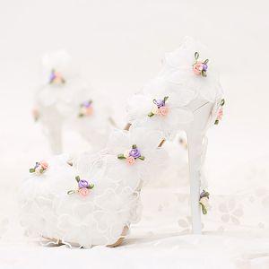 Élégant 2017 10 cm / 4 inch Blanche Désinvolte PU Appliques Talons Hauts Talons Aiguilles 10 cm Escarpins Chaussure De Mariée