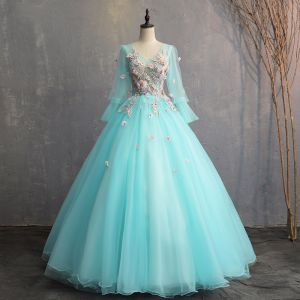 Chic / Beautiful Jade Green Prom Dresses 2019 A-Line / Princess V-Neck Lace Flower Appliques Pearl Long Sleeve Backless Floor-Length / Long Formal Dresses