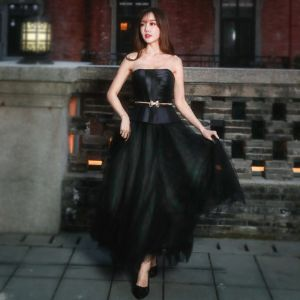 Élégant Noire Robe De Bal 2017 Princesse Bustier Sans Manches Métal Ceinture Longueur Cheville Volants Dos Nu Robe De Ceremonie