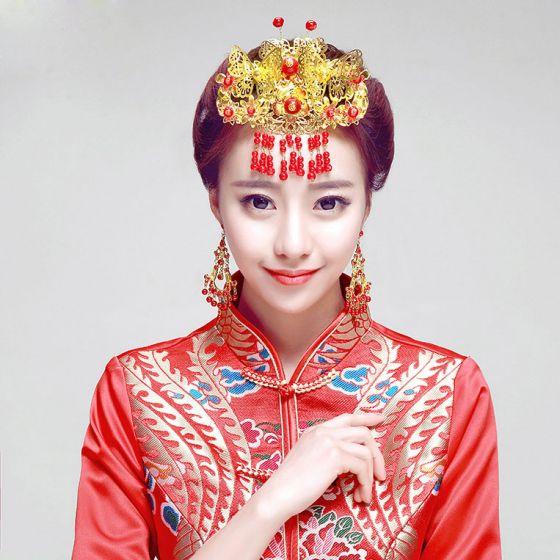 Chinese Stijl Rode Parel Hoofddeksels / Oorbellen Tweedelige