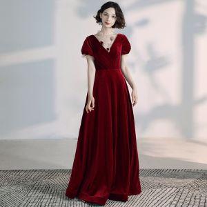 Élégant Bordeaux Robe De Soirée 2020 Princesse Col Haut Perlage Faux Diamant Daim Manches Courtes Dos Nu Longue Robe De Ceremonie