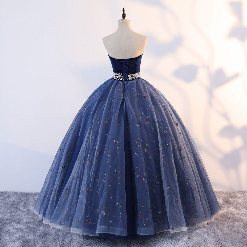 Vintage Quinceañera Marineblau Ballkleider 2019 Ballkleid Herz-Ausschnitt Ärmellos Applikationen Perle Spitze Lange Rüschen Rückenfreies Festliche Kleider