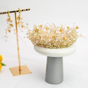 Atemberaubend Gold Haarschmuck Braut  2020 Legierung Perlenstickerei Diadem Ohrringe Hochzeit Brautaccessoires