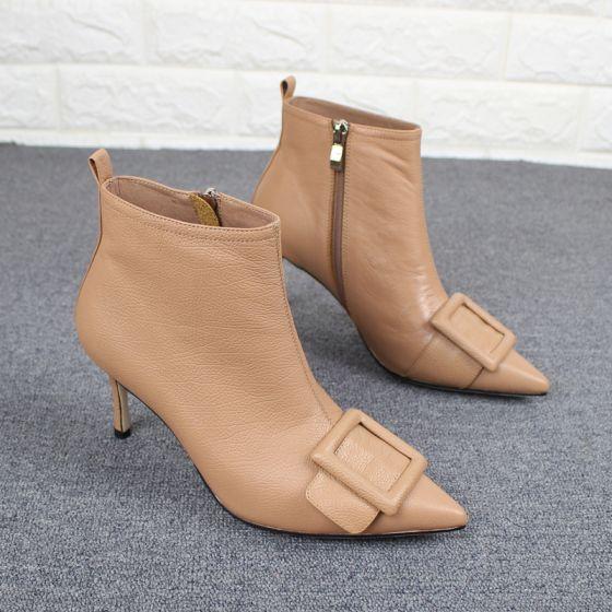 Fine Khaki Casual Kvinners støvler 2019 Lær Spenne 7 cm Stiletthæler Spisse Boots