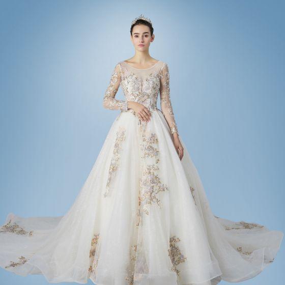 romántico champán transparentes vestidos de novia 2019 a-line