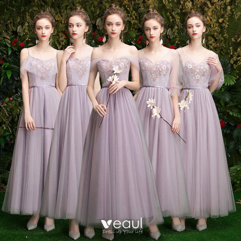Asequible Espliego Vestidos De Damas De Honor 2019 A Line Princess Apliques Con Encaje Lentejuelas Cinturón Largos Ruffle Vestidos Para Bodas
