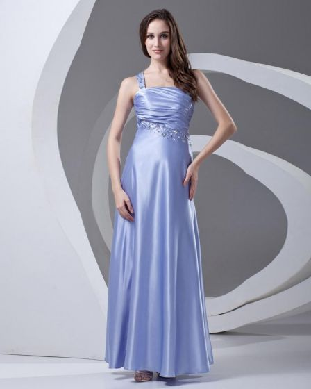 One Shoulder Beading Pleated Ankle Length Charmeuse Woman Prom Dress